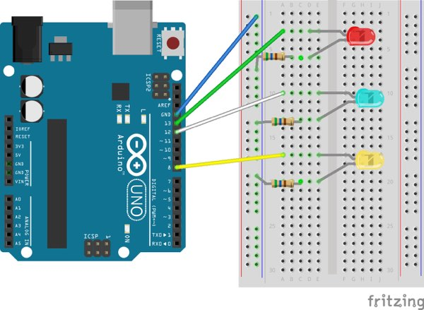 Experimenting with Arduino: Multiple LEDs Diagram